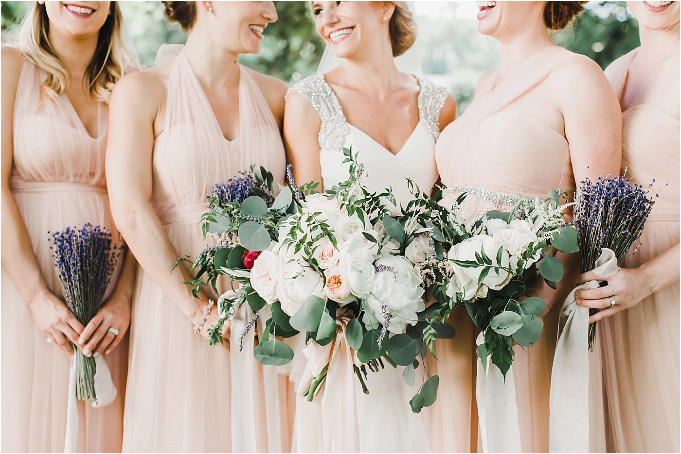 Peony + Garden Rose Bridal Bouquet and Lavender Bridesmaid Bouquets