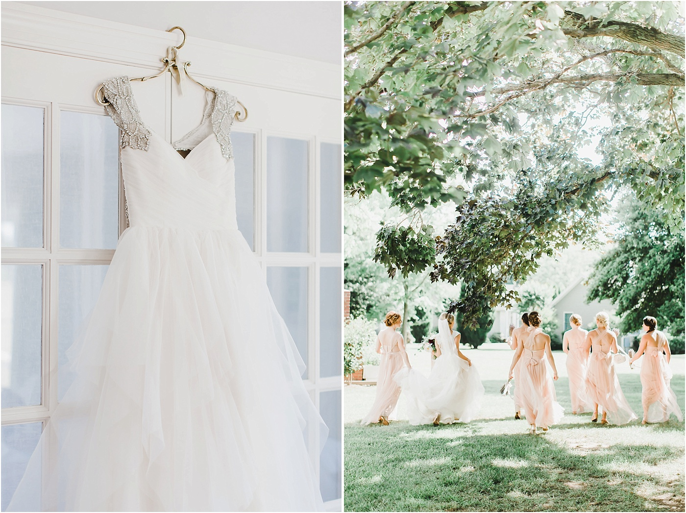 Beaded Hayley Paige Bridal Gown + Blush Jenny Yoo Bridesmaid Dresses