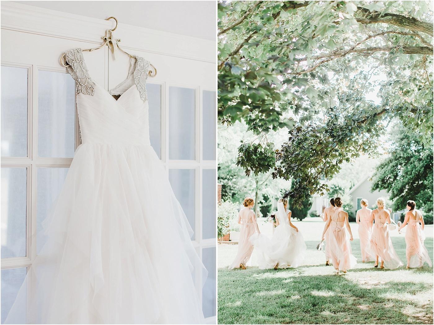 Beaded Hayley Paige Bridal Gown + Blush Jenny Yoo Bridesmaid Dresses