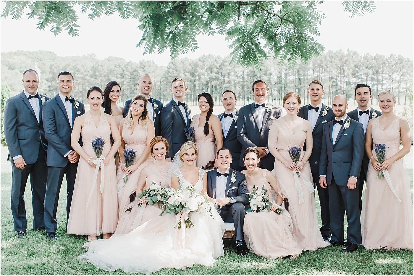 Blush Jenny Yoo Bridesmaid Dresses + Vera Wang Tuxes