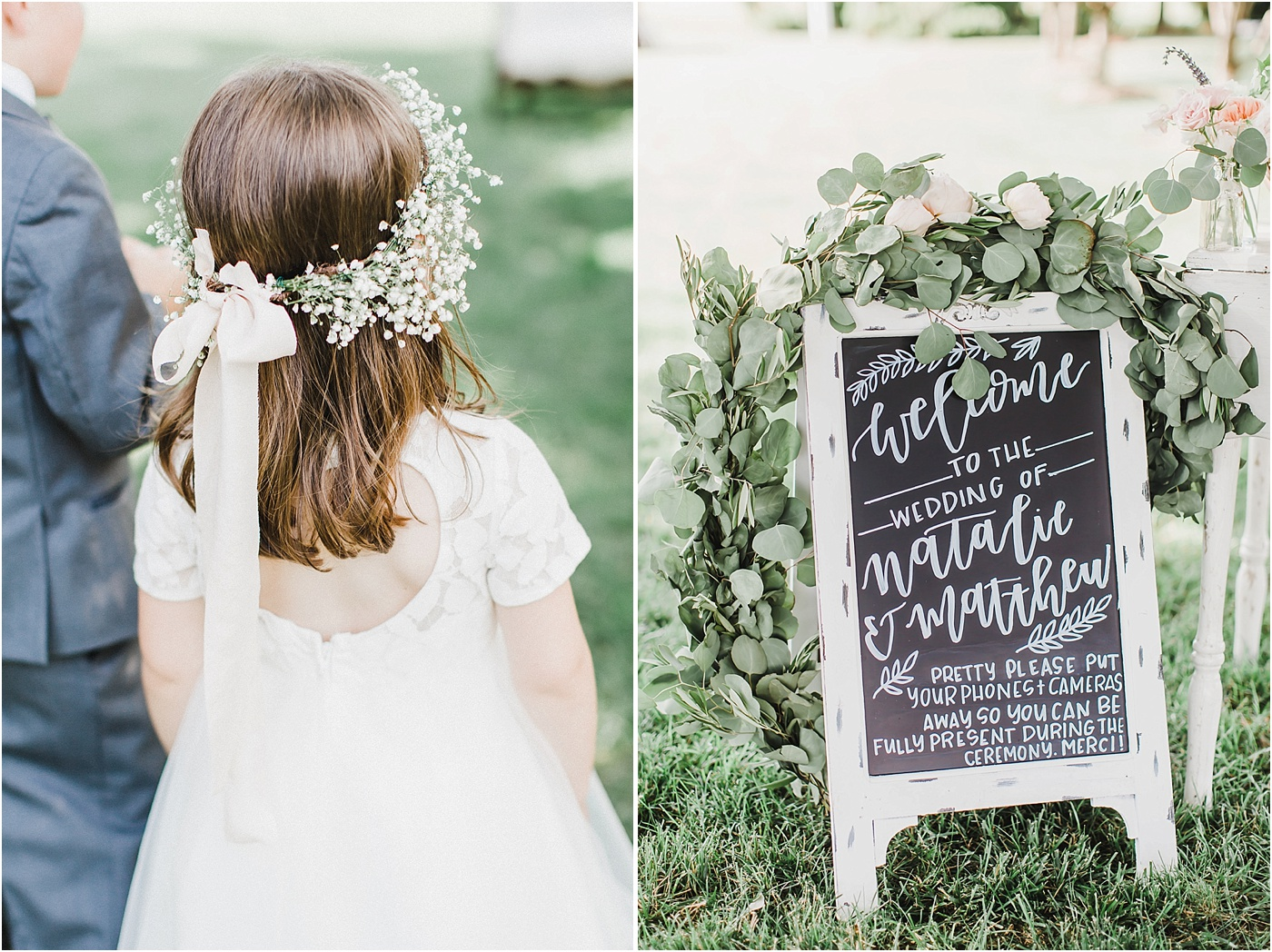 Flower Girl Crown + Greenery Garland Wedding Welcome Sign