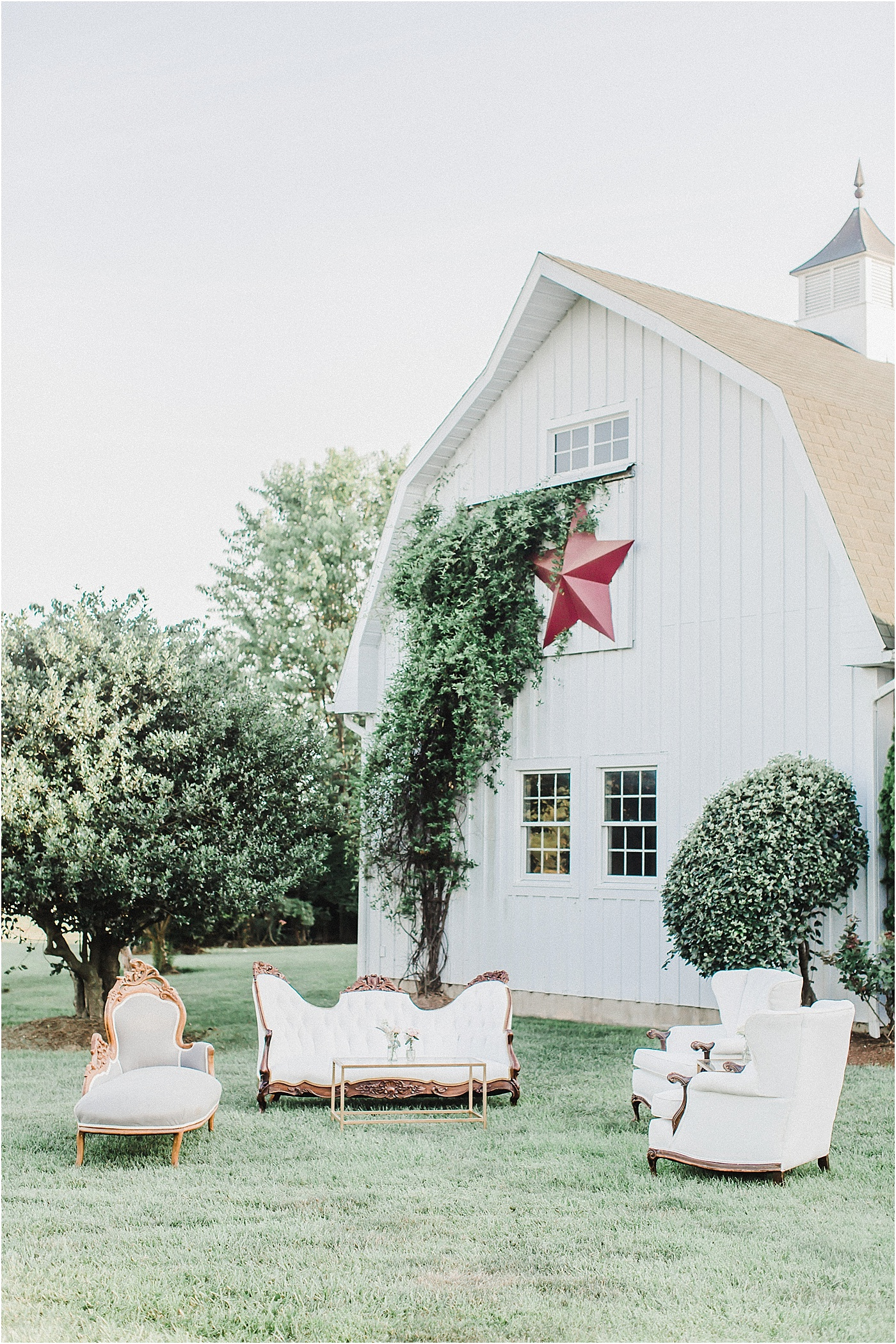 Vintage Lounge Seating + Barn Wedding