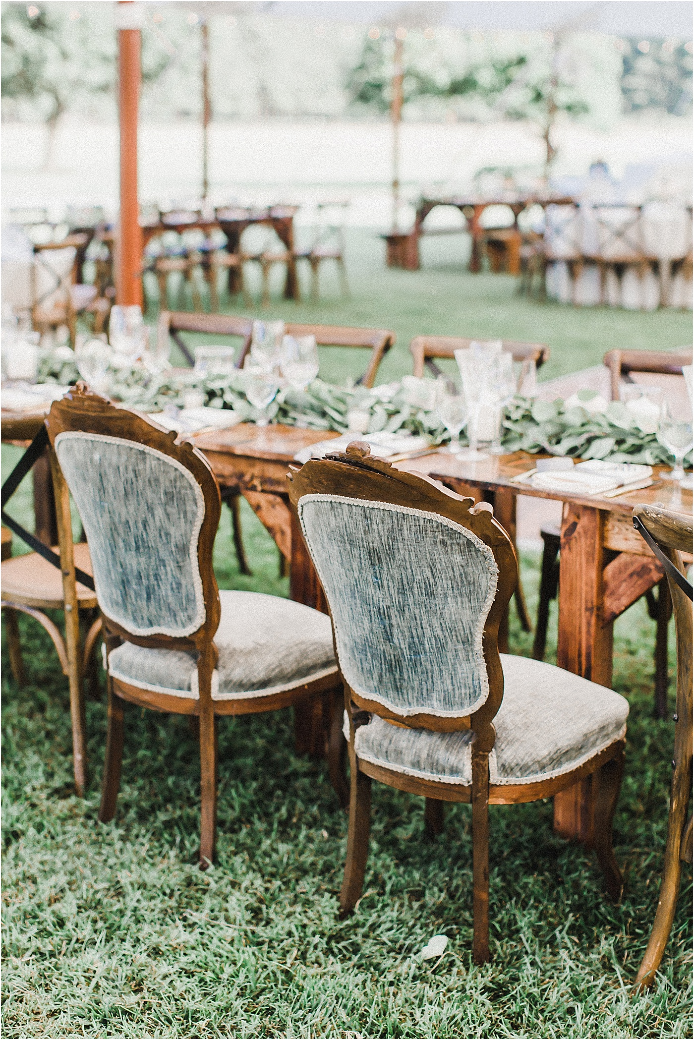 Vintage Seating + Farm Tables Wedding