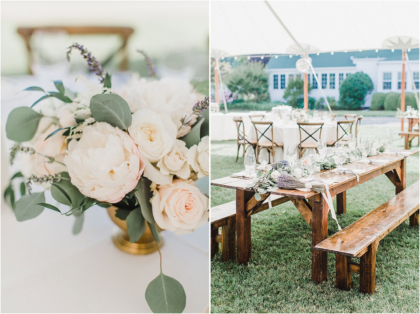 Farm Tables + Crossback Chairs Wedding