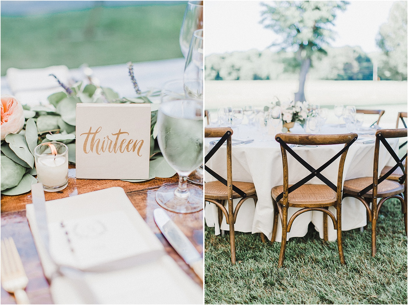 Crossback Wood Chairs + White Tablecloths Wedding