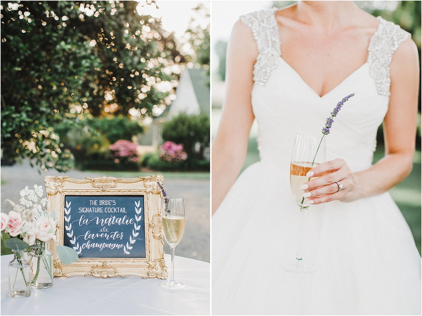 Signature Drink Champagne with Lavender Wedding