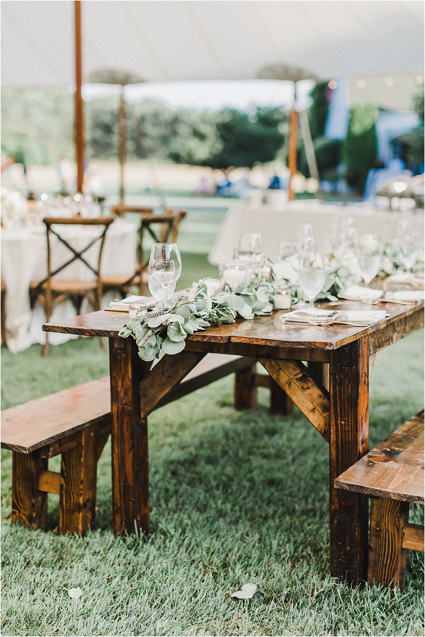 Farm Tables + Greenery Garland Wedding