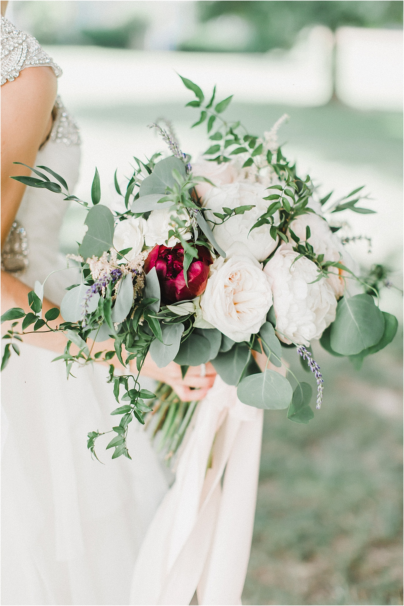 Loose Organic Wedding Bouquet with Garden Roses + Peonies