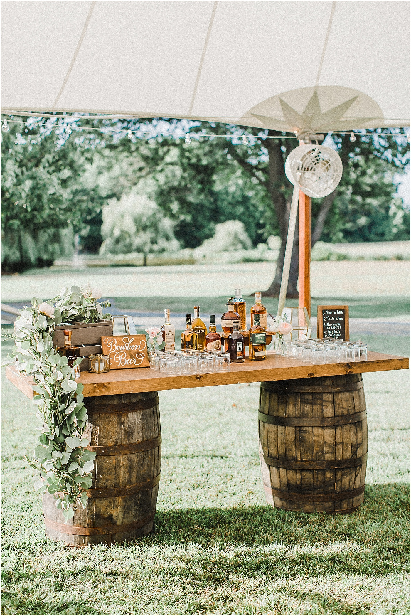 Bourbon Barrel Bar Outdoor Wedding