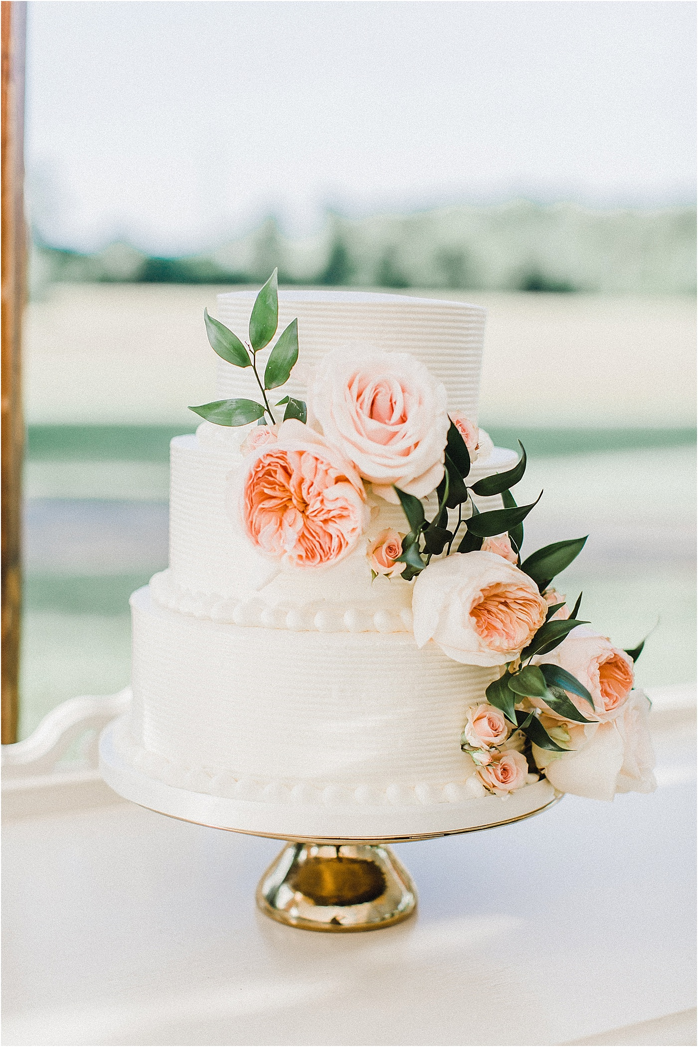 Wedding Cake with Garden Roses + Gold Cake Stand