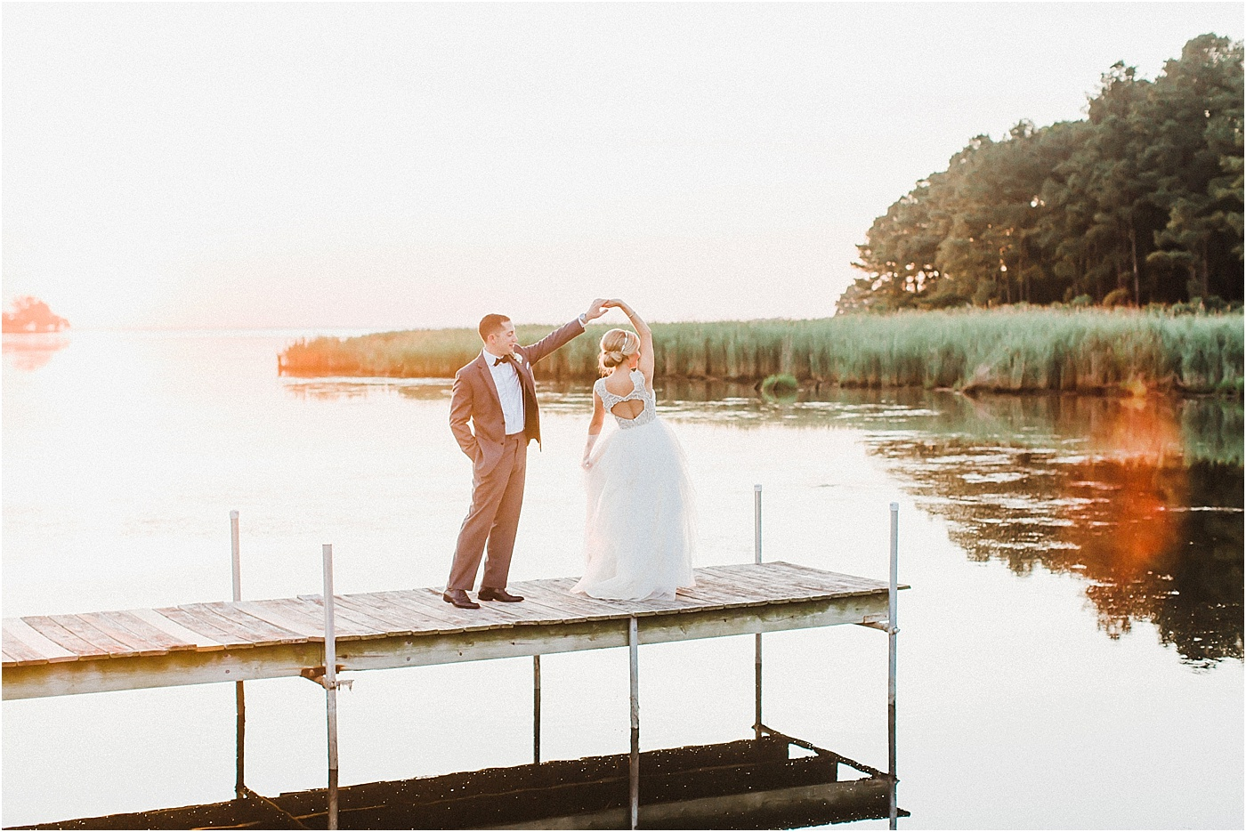 Waterfront Sunset Bride and Groom Photos Eastern Shore Maryland