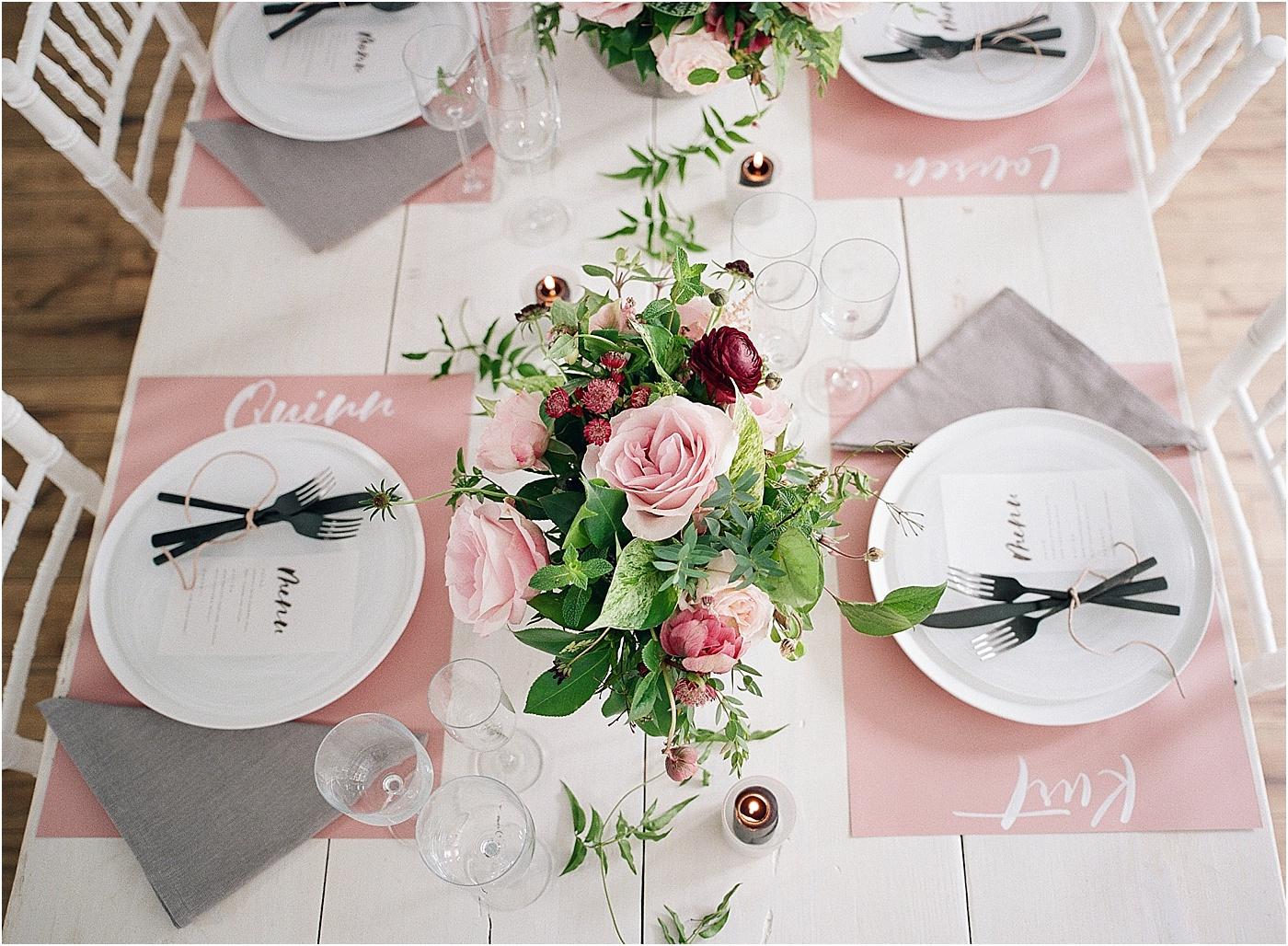 dusty rose black table setting wedding
