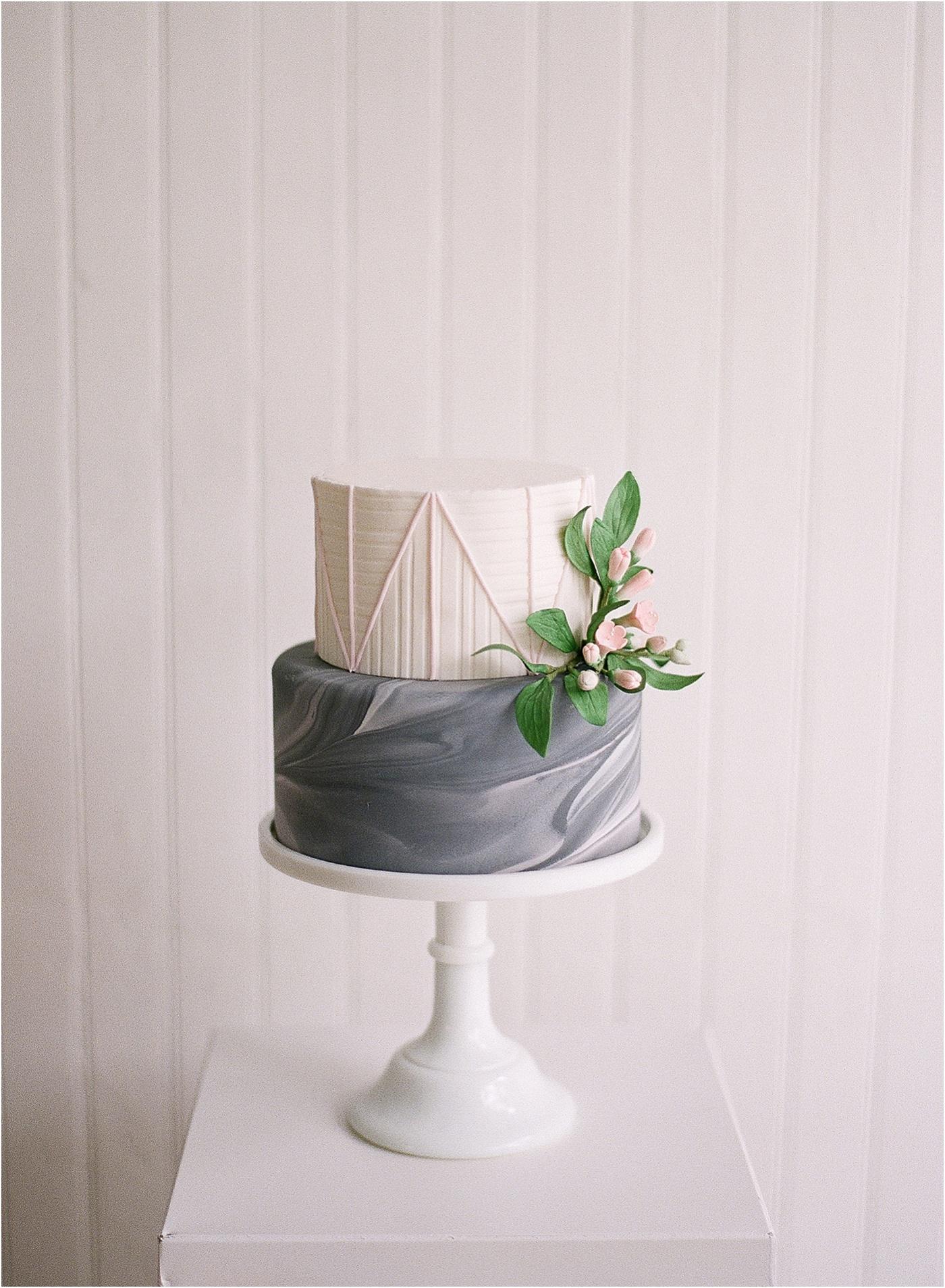 black marble light pink wedding cake
