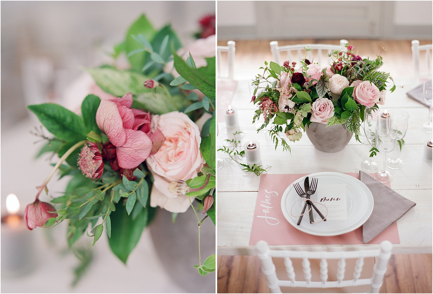 dusty rose and black table setting wedding