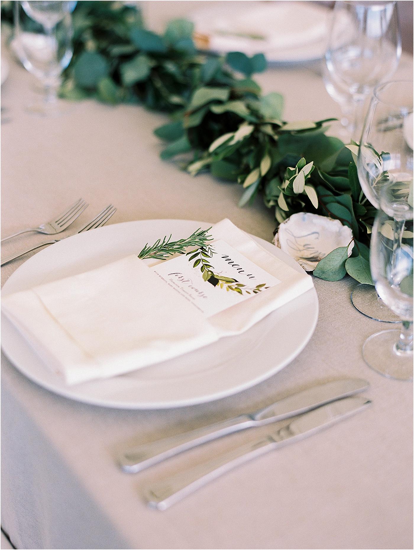 greenery wedding table setting