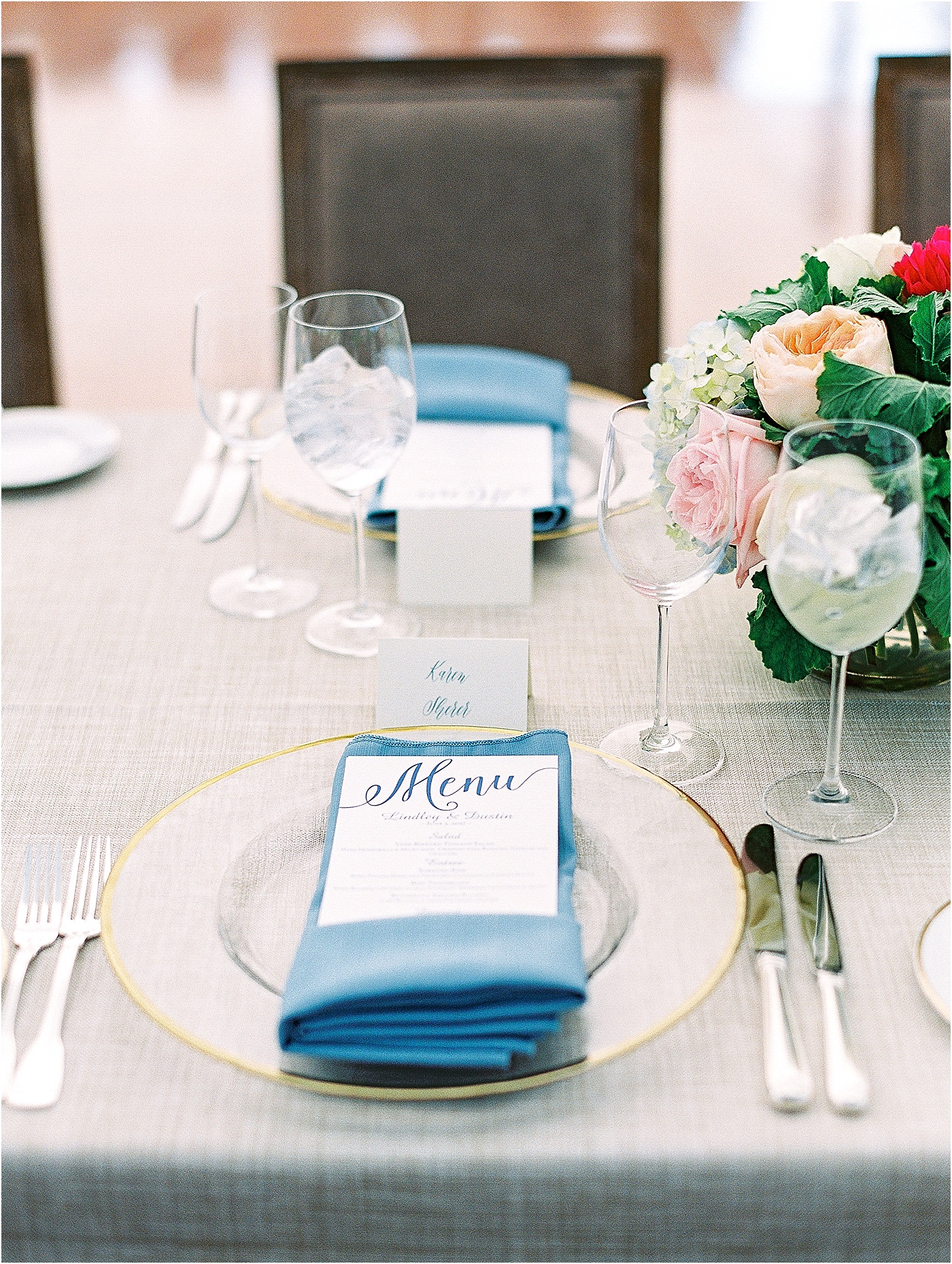 maritime blue gold accent table setting wedding
