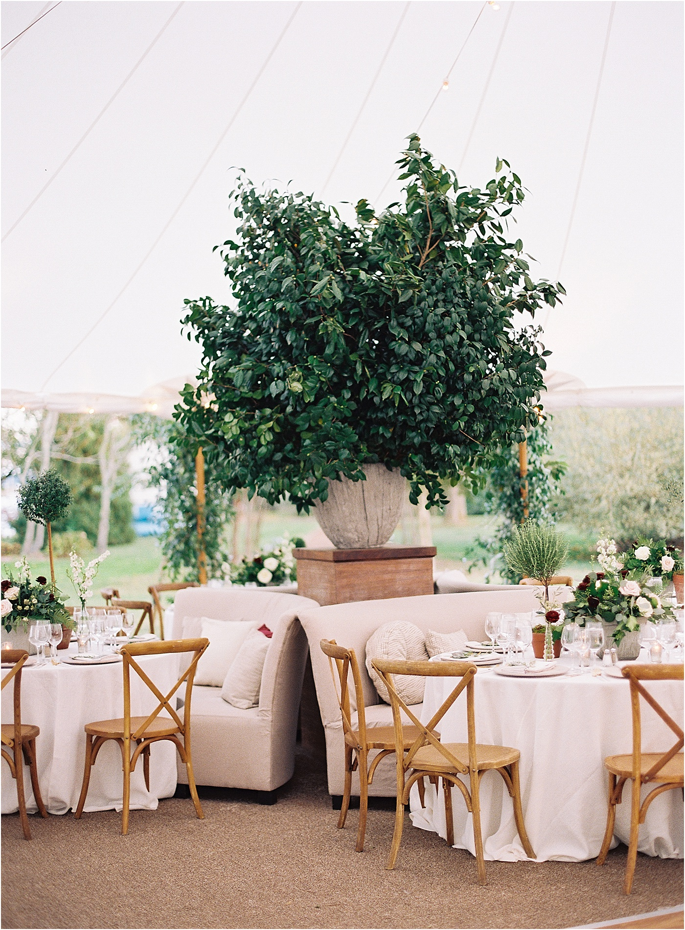 napa valley east coast vibe wedding sailcoth tent greenery