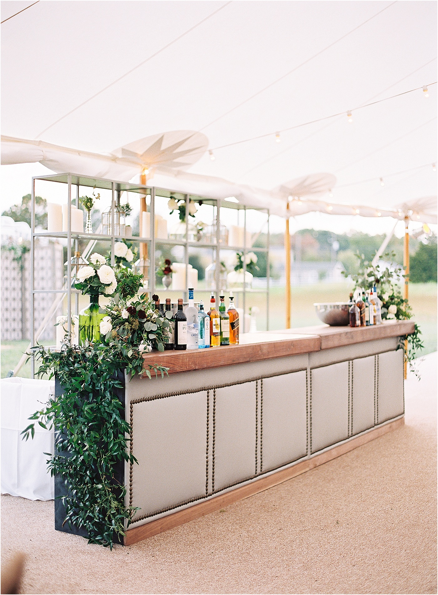 wedding bar greenery Chesapeake bay Napa valley theme