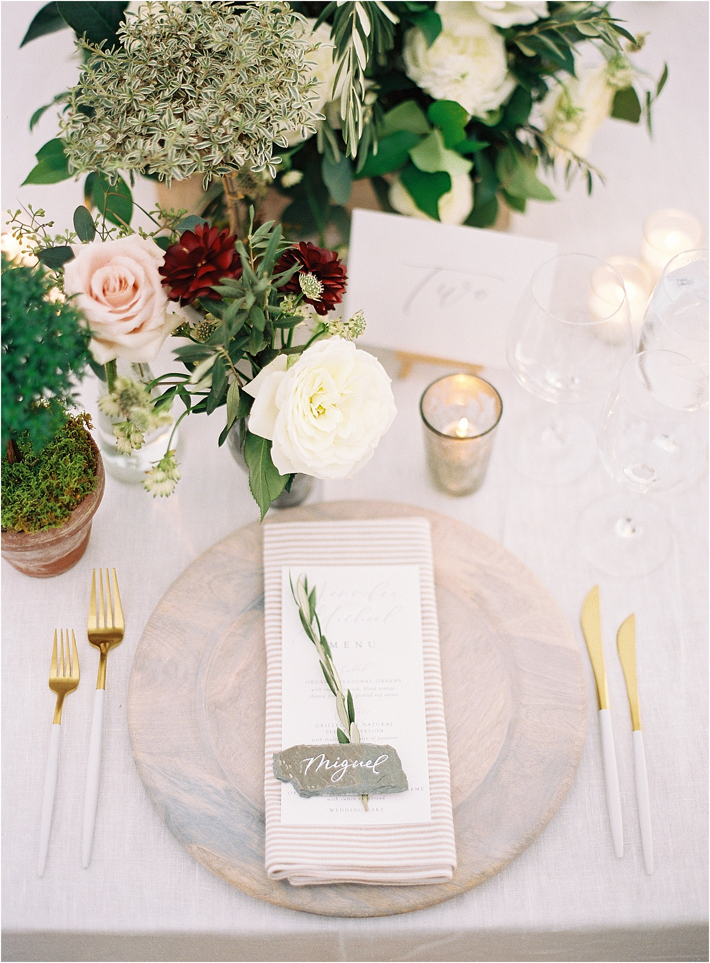 floral wedding table setting greenery touch of gold