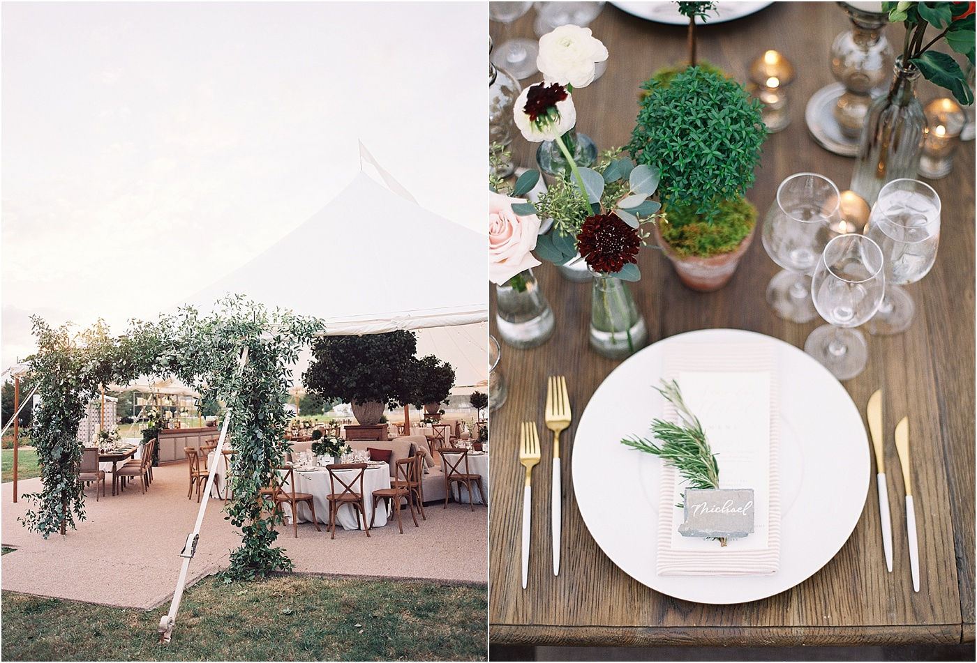 sailcloth tent greenery Chesapeake bay meets Napa valley olive branch