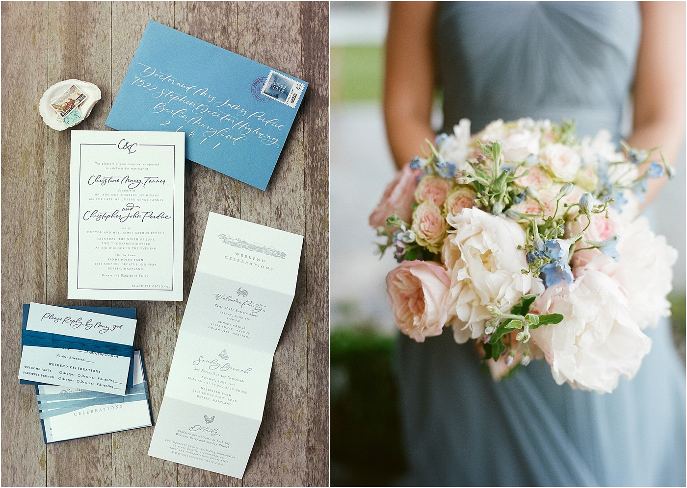 blush rose dusty blue wedding bouquet